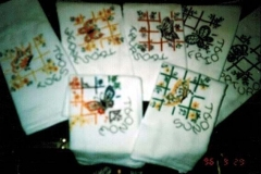 embroidery, butterfly dishtowels, 1996